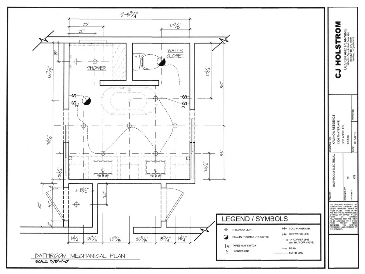 Architectural Design CJ Holstrom Inc Design Contractor Serving - Drawing of bathroom